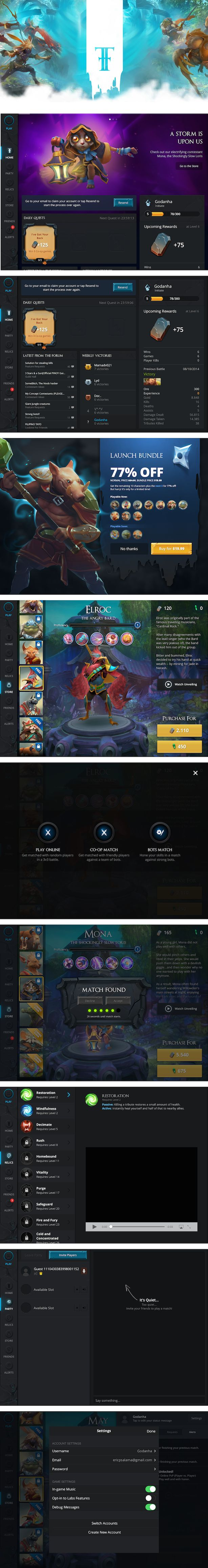 Fates Forever iPad MOBA UI  Reminds me of Dota2 painterly style