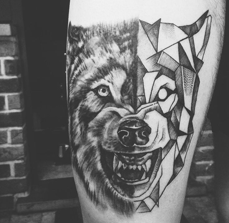 Wolf tattoo – realistic tattoo – geometric tattoo – legtattoo #wolf#tattoo#black… #Tattoos #Ale
