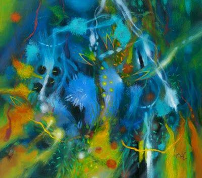 """""""Magia, Memoria, Color"""" está compuesta por cerca de 70 cuadros pintados por Jacanamijoy desde 1992 y hasta la actualidad, en su mayoría óleos de grandes dimensiones, además de numerosas serigrafías, acuarelas y dibujos."""