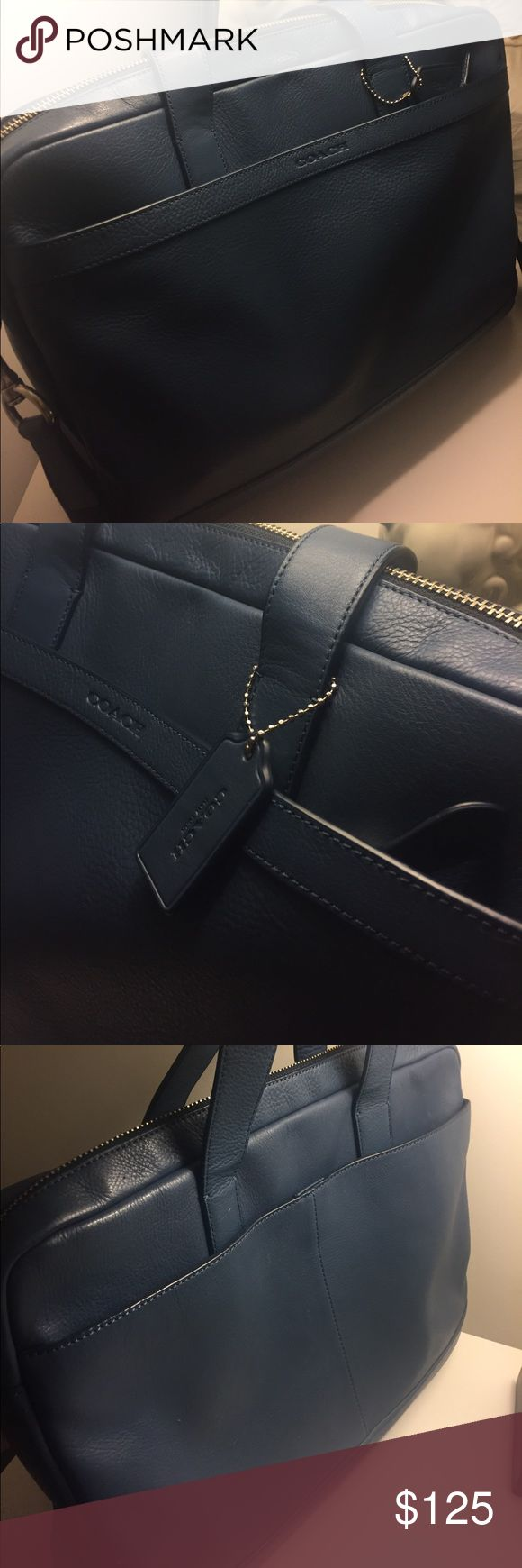"""Coach briefcase 💼 Like new!! Beautiful sapphire blue briefcase with removable strap. Plenty of pockets and storage. Measurements: 15-3/4"""" L x 11-1/4""""H x2-3/4"""" W Coach Bags"""