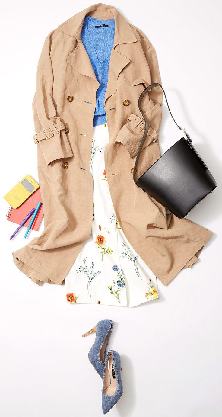 トレンチと花柄スカートで仕事シーンに華やぎを! ルミネ大宮のショップから春が待ち遠しくなるようなキレイ色を使ったコーディネートをご紹介! 人気スタイリスト田沼智美さんがベーシックなアイテムにカジュアル&モードなエッセンスを取り入れた親しみあるコーディネートをアドバイスします。