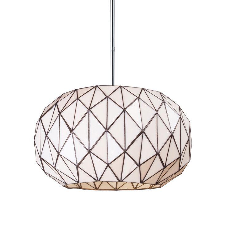 Triangular cut pieces of tiffany glass form the modern geometric design of the vertigo