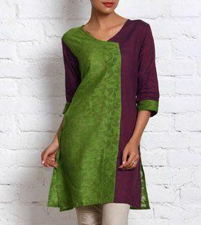Purple & Green Cotton Kurta
