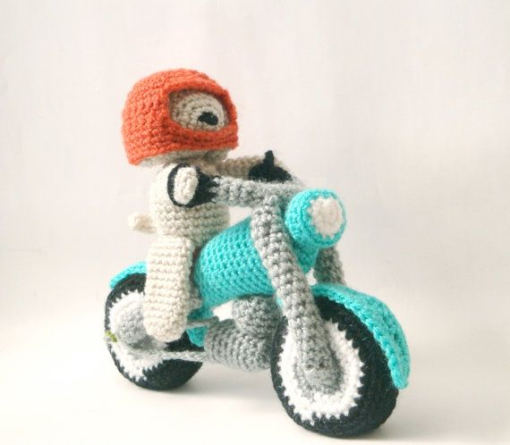 ryder needs this...wish i could knit!     Motorcycle Dog  Amigurumi Pattern  Motorbike  by MysteriousCats, £4.99