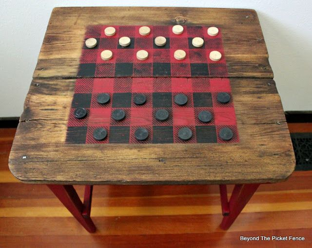 Rustic Buffalo Check checkerboard painted on an old table stenciled with Funky Junk's Old Sign Stencils \ by Beyond The Picket Fence
