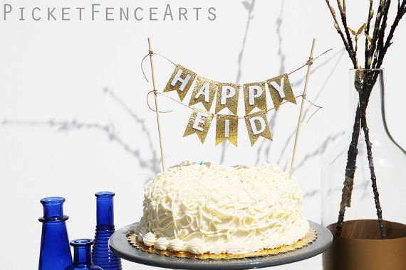 Cake Bunting Topper Gold and White Eid Eid by PicketFenceArts