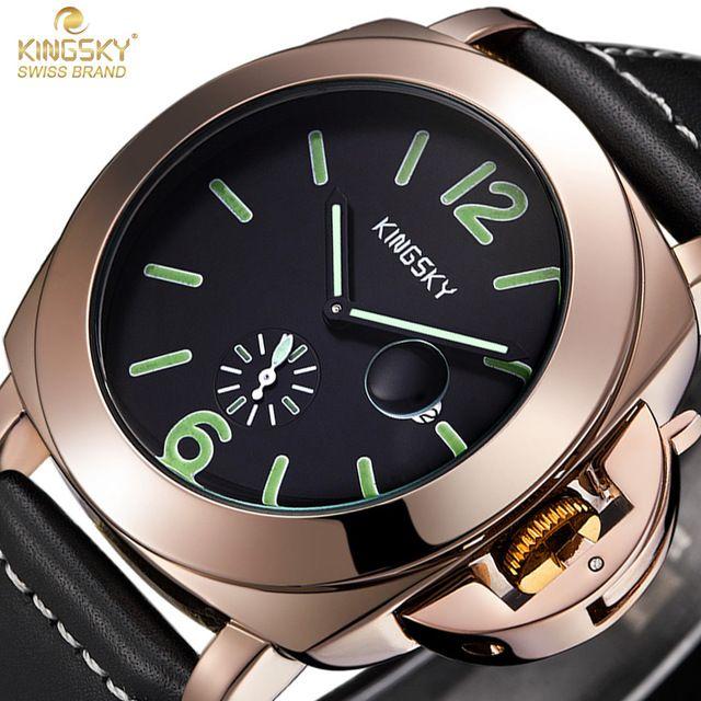 KINGSKY Sport Watches Men Luxury Brand Fashion Casual Male Clock Military Leather Wrist Quartz Business Watch Relogio Masculino