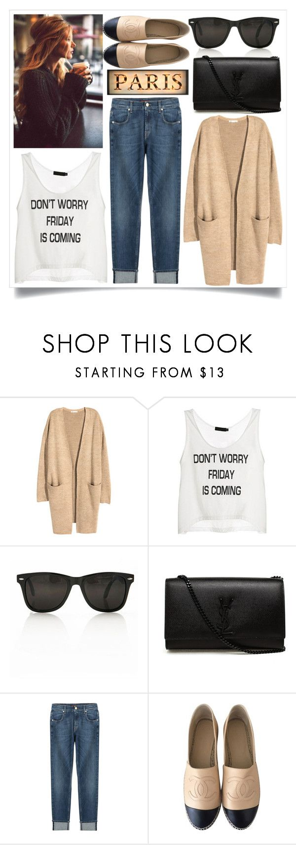 """""""Street Style"""" by madeinmalaysia ❤ liked on Polyvore featuring H&M, Yves Saint Laurent, 7 For All Mankind and Chanel"""