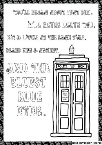 Coloring Doctor Who Tardis Pages To Print Colouring