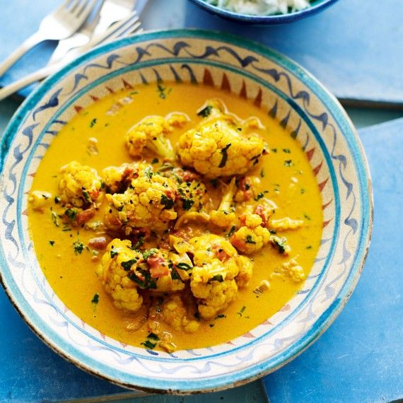 This fragrant cauliflower curry with Keralan lemon rice recipe isn't spicy, but if you like, you can up the amount of chilli you use