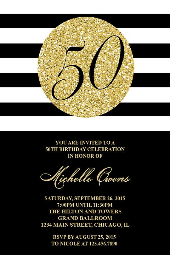 Gold 80th Birthday Party Invitation, Black and White Stripes, 80th Birthday…