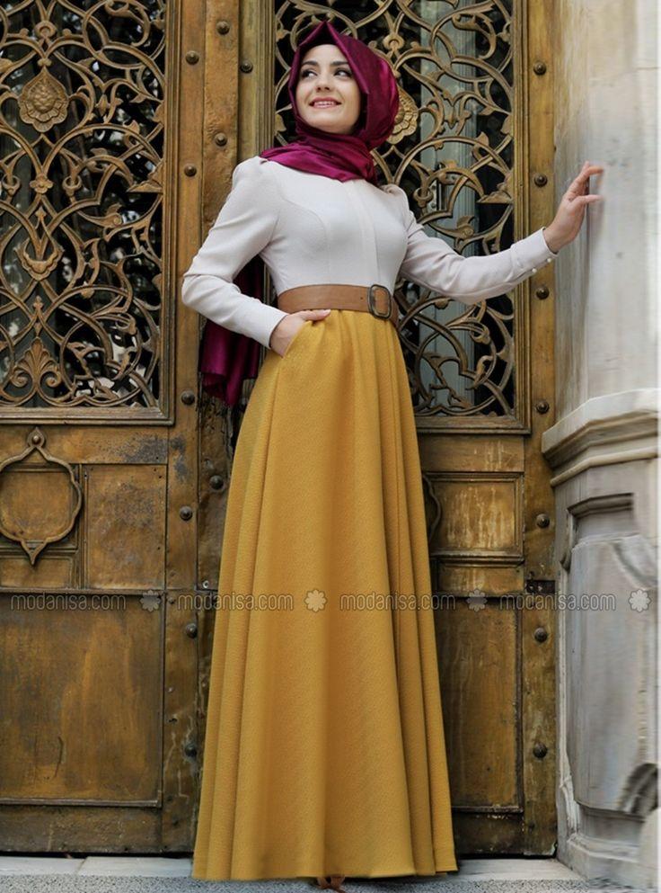 Autumn Dress - Yellow - Dresses - Modanisa