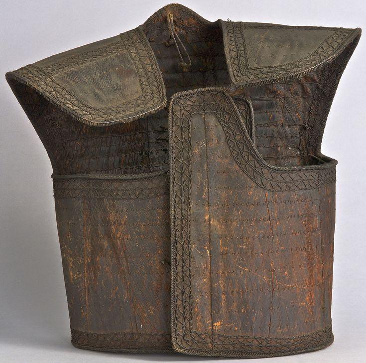Leather armor, Indonesia, Sulawesi, Toraja 42 x 41 x 19 cm (16 9/16 x 16 1/8 x 7 1/2 in.) Yale University Art Gallery.
