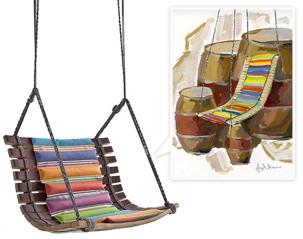 Miss Dondola Swing Chair by Angela Missoni for the Barrique Project by SanPatrignano - made of recycled casks!