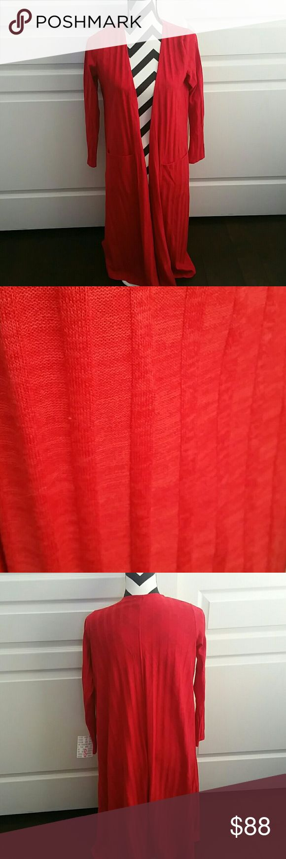 Lularoe Red Long Cardigan NWT Gorgeous red!!  Two front pockets.  Length to about the knees.  Brand new. LuLaRoe Sweaters