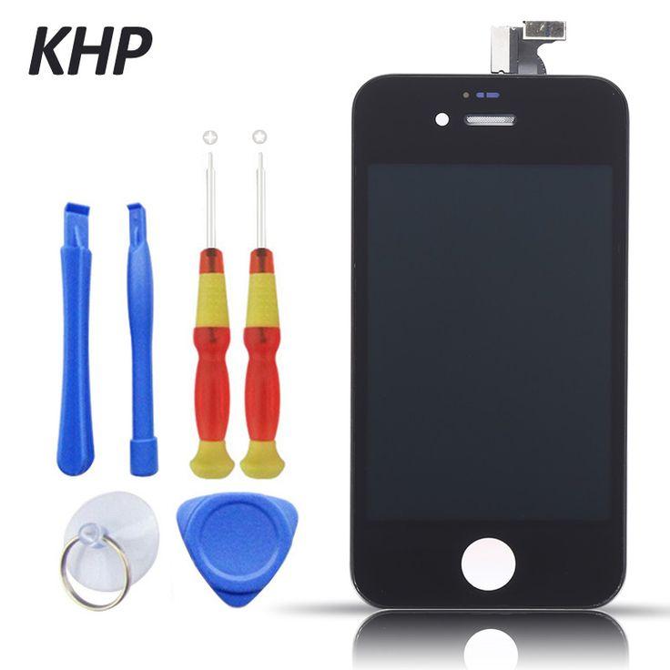 100% KHP D'origine AAA LCD Écran Pour iPhone 4 4S Affichage Remplacement Écran Tactile Digitizer Assemblée Avec Outil Kits