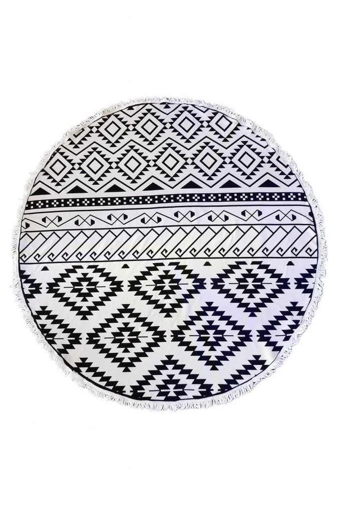 c22017891 Black and White Aztec Tribal Round Beach Towel Roundie Blanket ...
