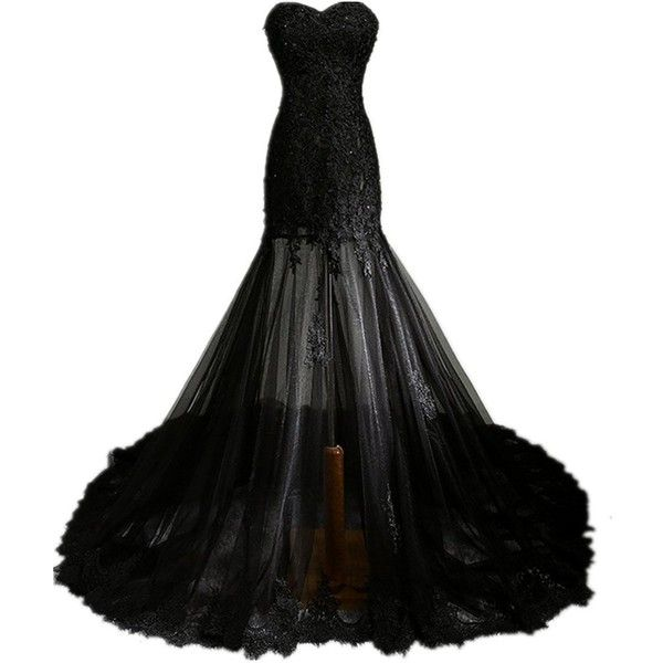 Zorabridal Vintage Gothic Mermaid Beaded Lace Black Wedding Dress for... (£76) ❤ liked on Polyvore featuring dresses, gowns, long dress, bridal dresses, brides dresses, gothic dress, lacy dress and vintage bridal dresses