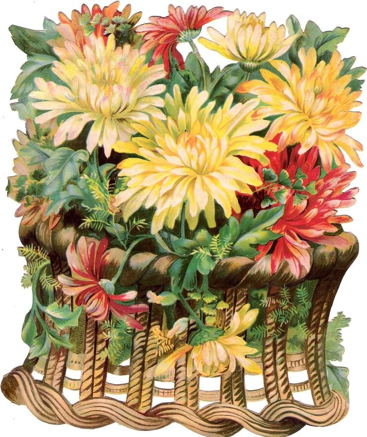 Oblaten Glanzbild scrap die cut chromo Blumen korb XL 19,5cm flowers basket
