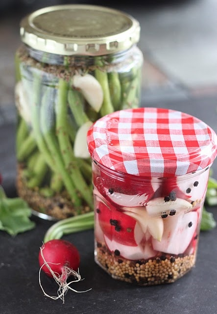 Simple Pickled Radishes and Pickled Green Beans
