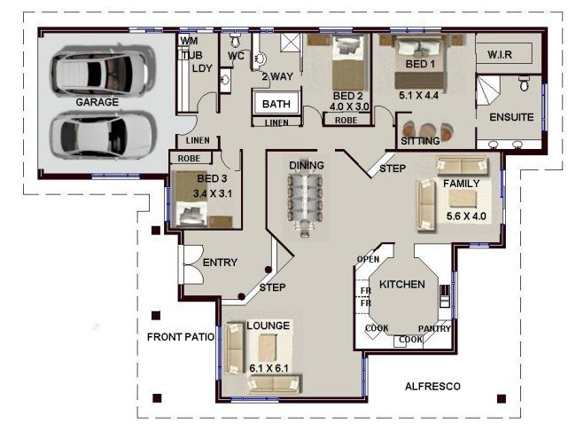 Amazing 3 Bed Single Storey House Plan No 4 Bed + Sunken Lounge