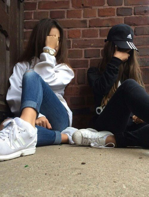 adidas, best friends, besties, black, friends