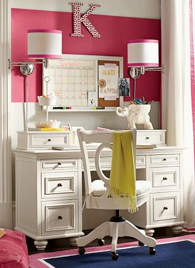 Super cute office space - loving the colors, that desk & the lighting!