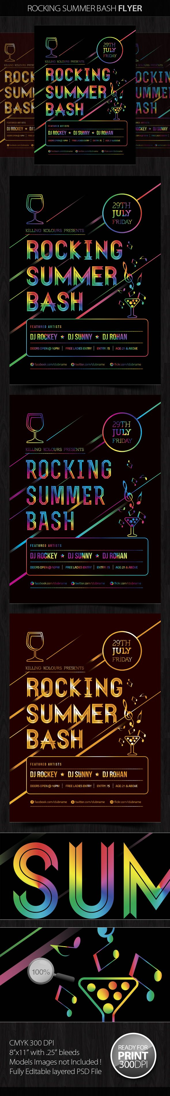 Rocking Summer Bash Party Flyer by Mahantesh Nagashetty, via Behance