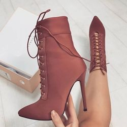 Pointed Toe Lace-Up Front Stiletto Heel Ankle Boot