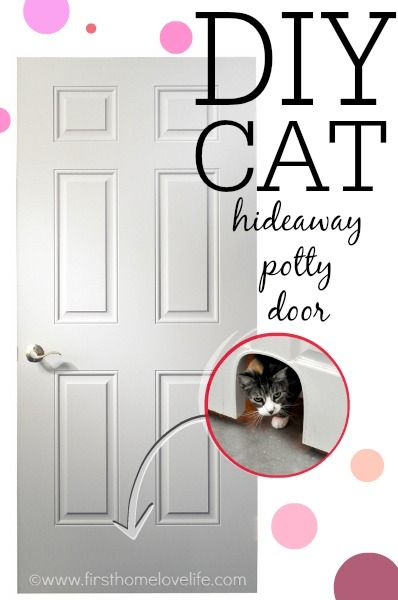 Keep your cat's litter box hidden but easily accessible with this DIY Cat Potty Door cut out! Step by step tutorial on www.firsthomelovelife.com