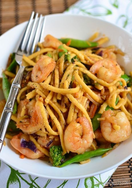 Slimming Eats Ginger and Garlic Shrimp and Noodles - gluten free, dairy free, Slimming World and Weight Watchers friendly