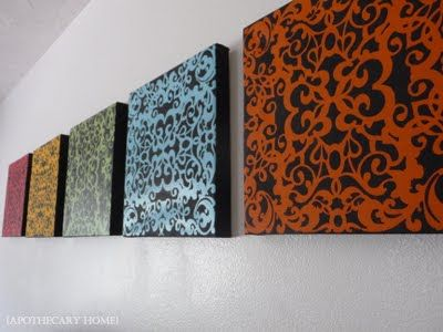 Colorful Canvas Wall Art. Just use paper lace as a stencil on top of canvas.