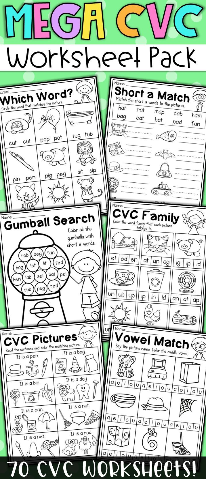 This Packet Is Filled With Piles Of Fun Cvc Worksheets To Help Students Practice And Master Short Vowel Words T Cvc Words Reading Cvc Words Spelling Cvc Words [ 1660 x 716 Pixel ]