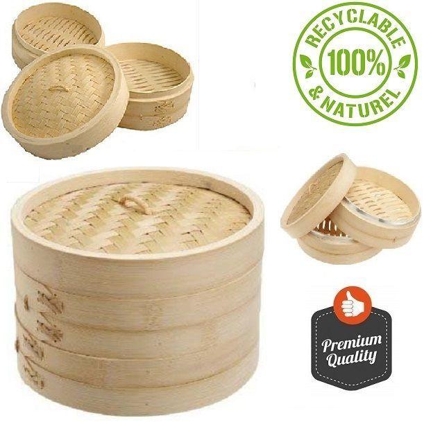 Asian Bamboo Steamer Kitchen 10-Inch JapanBargain Wellness Natural Dimsum Veget #SteamerJapan