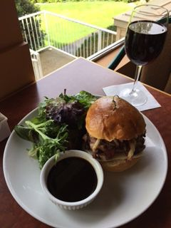 Hand Carved Prime Rib Beef Sandwich with Horseradish Cream, Crispy Onions and Swiss Cheese on a Brioche Bun. Served with Beef Jus, French Fries or Spring Mix Salad. Try a glass of Milton Park Shiraz with your sandwich!