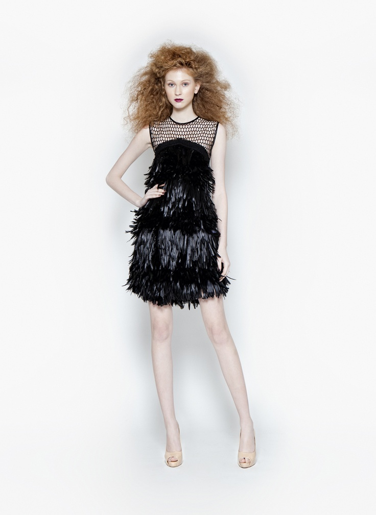 Christos Costarellos Short Feather Dress