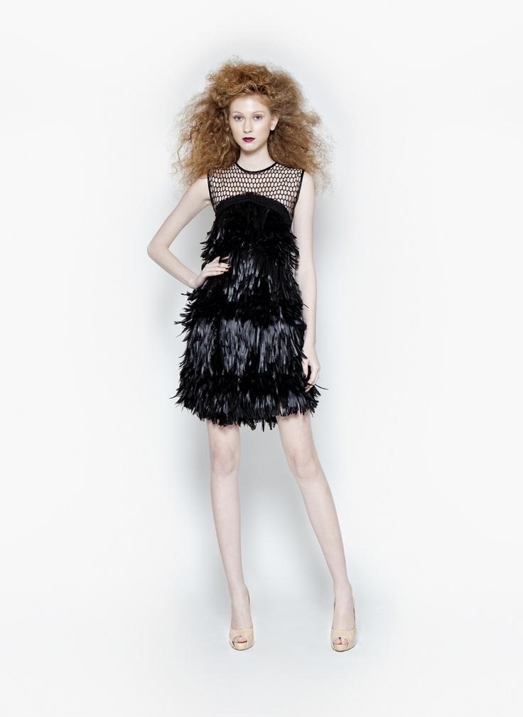 Christos Costarellos Short Feather Dress