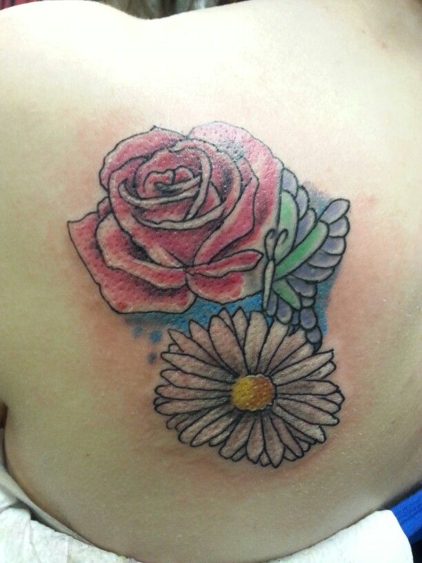 Rose And Daisy Tattoo Stencil: Rose, Daisy And Butterfly Tattoo