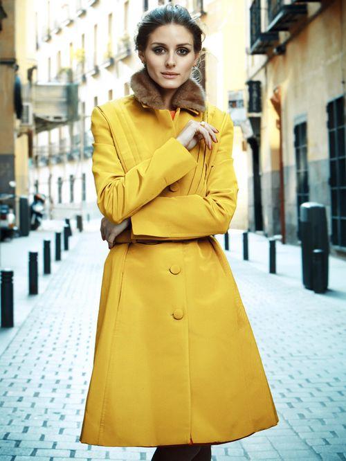 fall-friendly shade of yellow on Olivia Palermo