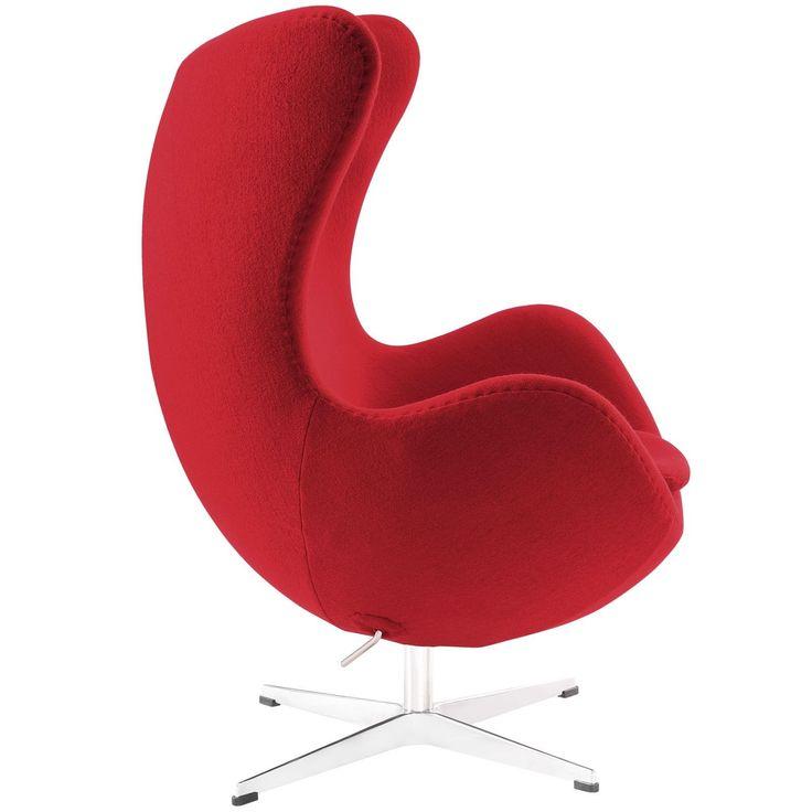 Modway Arne Jacobsen Egg Chair (Red) (Metal)