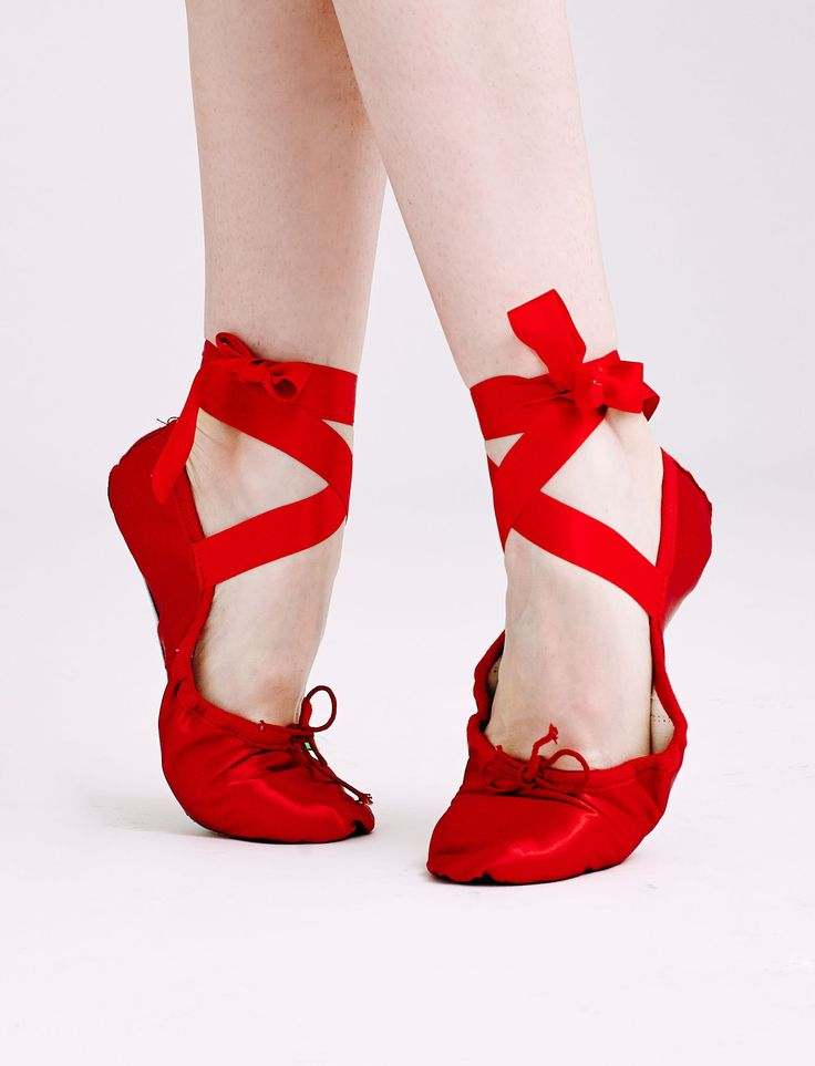 Satin Workout Slippers with Ribbons from Ballet Beautiful. Simple red ballerina slippers