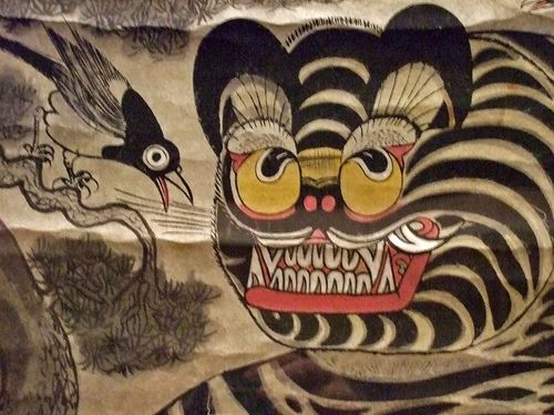 (Korea) Tiger and Magpie by unknown artist. Joseon Kingdom, Korea. ca 19th century CE. color on paper.