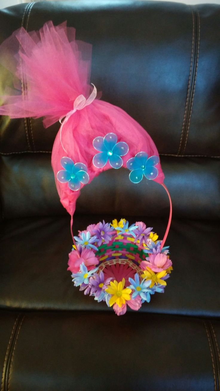 Trolls Easter Basket that is doubling as a birthday party centerpiece/party favor basket.