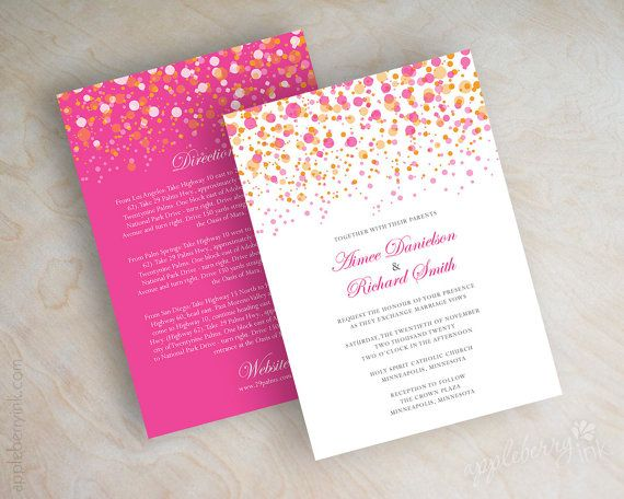 Pink and orange polka dot wedding invitation, modern, fuchsia wedding invitation, shimmer wedding invitation, shimmer invitation, Glitter. www.appleberryink.com