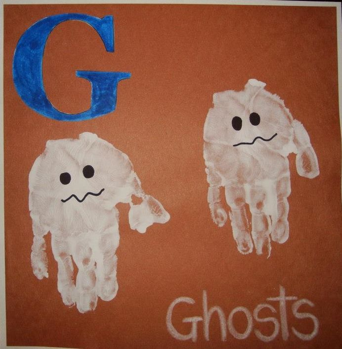 Our Week with the Letter G, early learning, Ghost hand prints