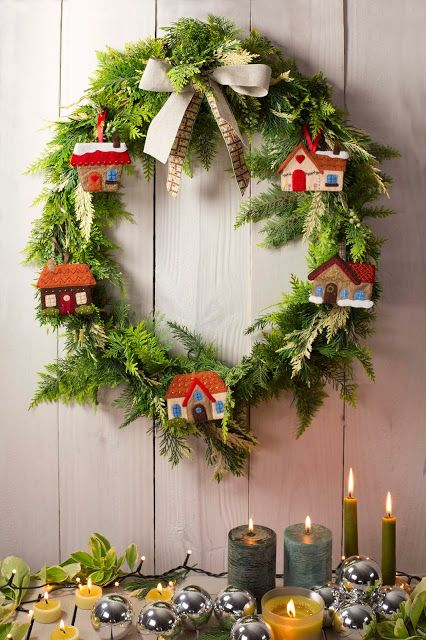 Wreath with little felt houses