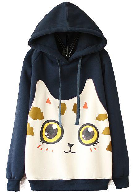 Kawaii style $25.90 http://www.sheinside.com/Navy-Hooded-Long-Sleeve-Cat-Print-Sweatshirt-p-153956-cat-1773.html?aff_id=95