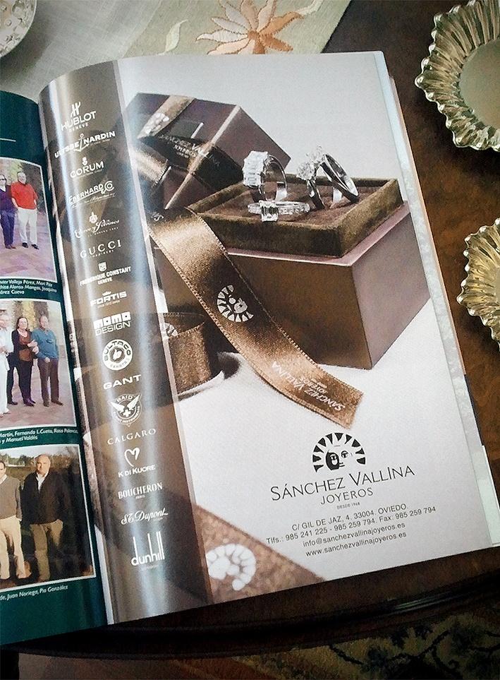 Diseño de anuncio para revista. Joyeria Sanchez Vallina de Oviedo.