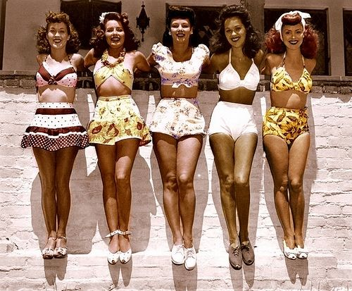Swimwear during this time almost always included a higher waistline to emphasis the shape of a women's body. Variations of bottoms of the suits were either flowy and ruffly or tight and form fitting.