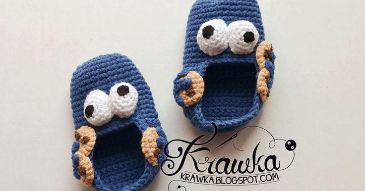 buciki ciasteczkowy potwór cookie monster amigurumi crochet sweet funny booties ulica sezamkowa, sesame street, crochet buciki dla niemowlaka, prezent dla dziecka, newborn baby booties free pattern darmowy wzór